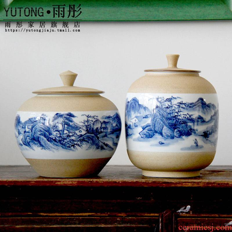 Blue and white porcelain of jingdezhen ceramic checking pottery hand - made porcelain clay landscape pot - bellied tea urn caddy fixings furnishing articles