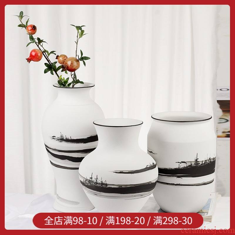 Modern minimalist light key-2 luxury black and white vase of new Chinese style ceramic dry flower, flower implement Nordic contracted sitting room soft decoration