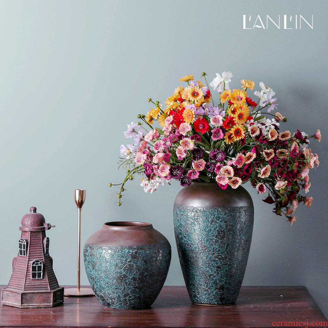 Vase furnishing articles of Chinese style ceramic decoration flower arranging dried flowers sitting room manual pottery zen retro home furnishing articles
