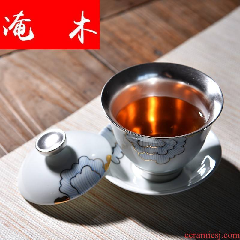 Submerged wood silver checking silver kung fu tea tea set jade porcelain coppering. As three three 'combination tureen hand grasp the bowl to bowl