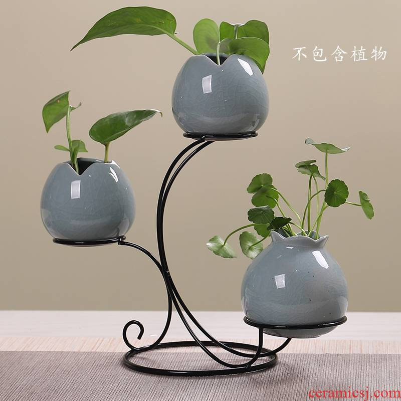 Large Chinese small hydroponic vase aquarium creative flower tea table decoration porcelain white rural furnishing articles