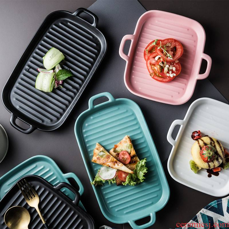 Creative ears oven dish baking dish microwave ceramic disc beefsteak plate household SaPing dish plate