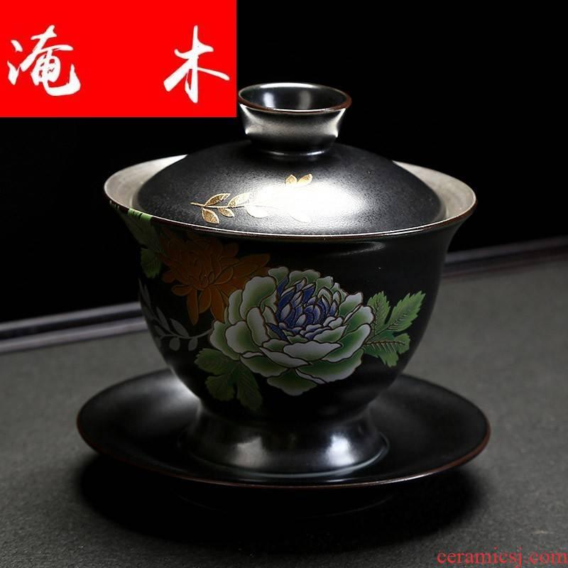 Flooded jingdezhen wood silver tea set 999 sterling silver tureen kung fu tea set large blue and white ceramic tea tasted silver gilding