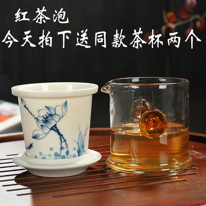 Hand - made ceramic inner glass tea set red cup ears cup hot tea filter remove the teapot blue and white porcelain