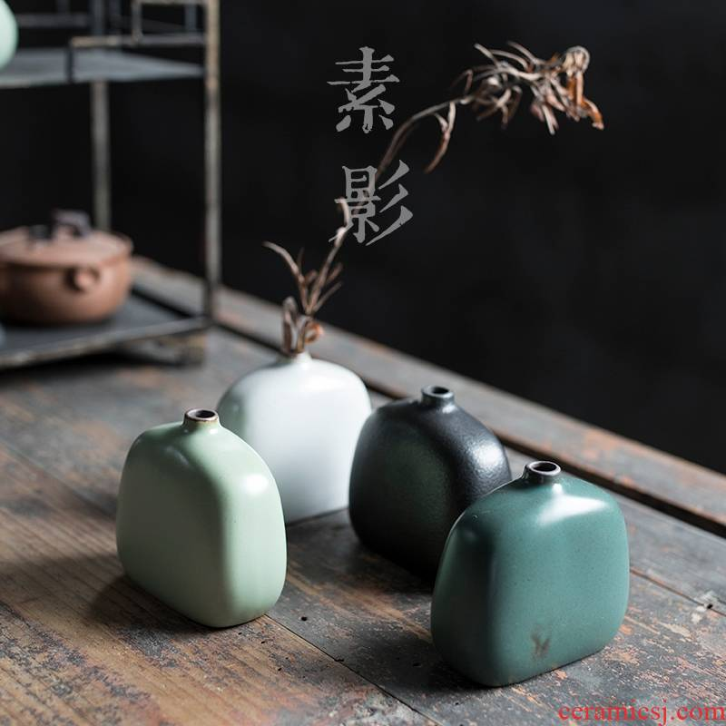 Qiao mu flat flower implement creative Japanese ceramic vases, mini home furnishing articles sitting room adornment is placed by hand
