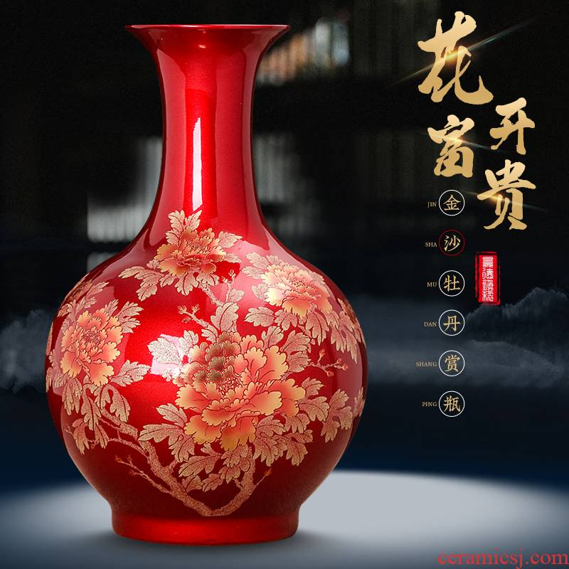 Jingdezhen ceramic crystal glaze furnishing articles sitting room Chinese red paint peony vases flower arranging Chinese style household ornaments