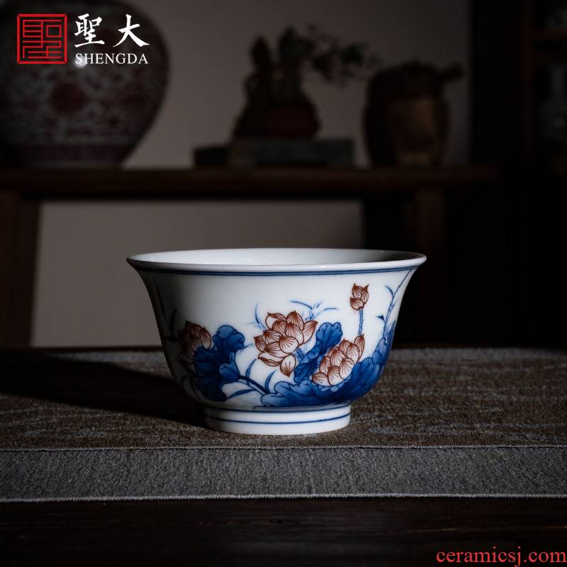 Holy big ceramic kung fu tea cup pure manual hand - made jingdezhen porcelain lotus pond red see colour classical masters cup sample tea cup