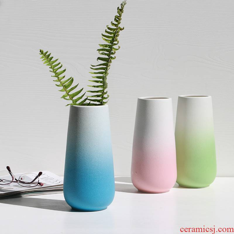 I and contracted INS fashion wind expressions using wide ceramic vase American country matte enrolled gradient ceramic furnishing articles