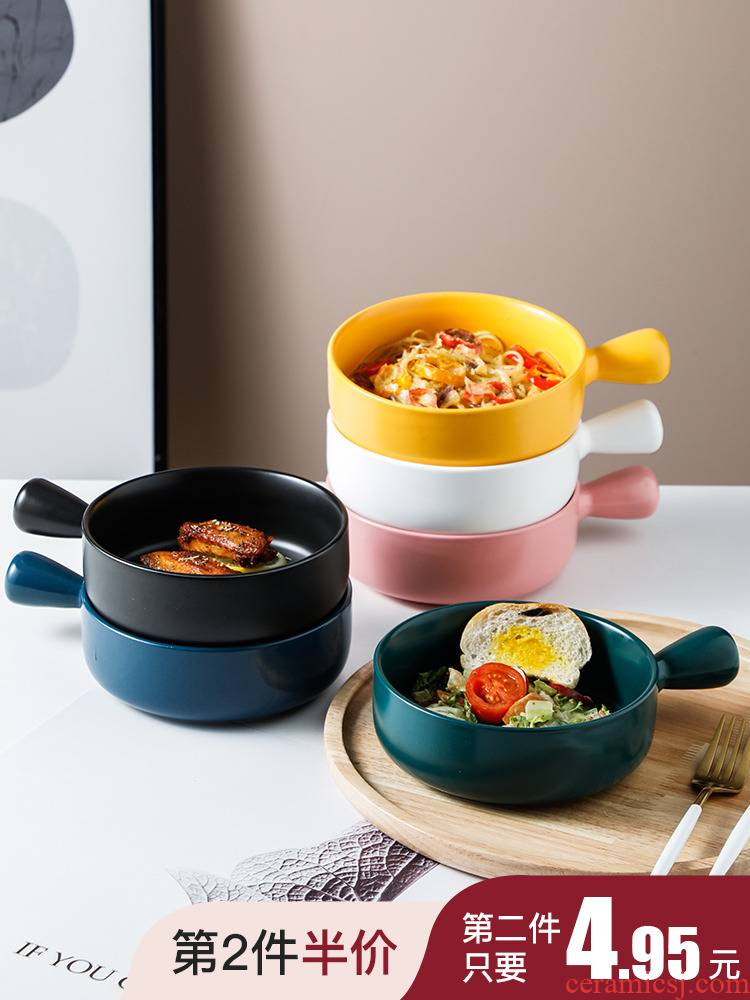 Scene for the Nordic baking baking oven private network red cheese baked baked rice bowl household creative ceramic sand for breakfast
