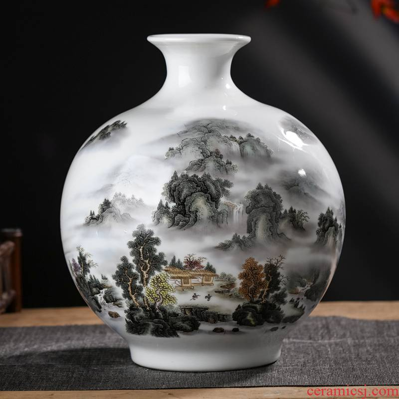 Jingdezhen ceramics vase furnishing articles sitting room flower arranging new Chinese landscape painting pomegranate wine bottle household ornaments