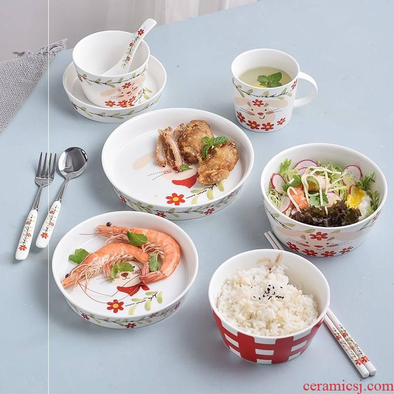 Express cartoon domestic rabbit Korean move ceramic bowl spoon, chopsticks tableware plate single bowl meal dish bowl