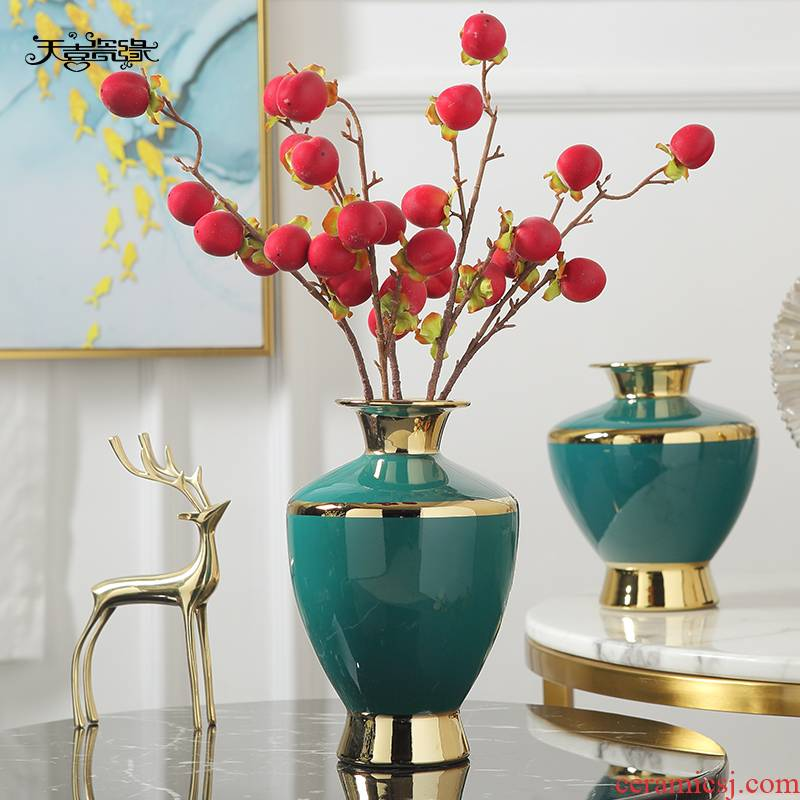 Jingdezhen modern light key-2 luxury ceramic vases, flower arranging furnishing articles, the sitting room porch meal contracted the new Chinese style of soft decoration