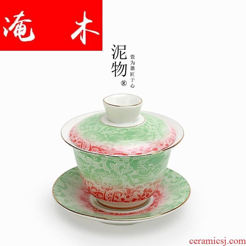 Flood light wood tureen tea powder enamel large key-2 luxury of jingdezhen ceramics grilled hand - made spend three to tureen gradient mercifully cups