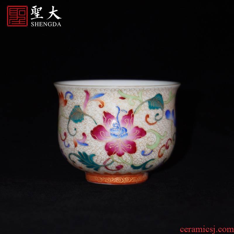 The big color master cup manual hand - made jingdezhen ceramic wire inlay enamel tea cups kung fu tea cups sample tea cup
