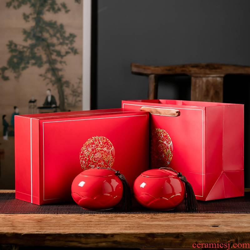 Tea box empty box common black Tea, green Tea pot half jins with ceramic Tea pot seal pot