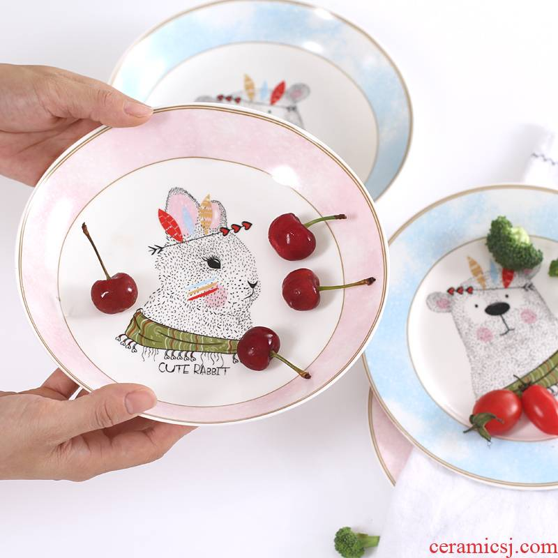 The Children 's cartoon ceramic dish dish 8 inches household dinner plate and lovely dessert fruit bowl dish plates FanPan
