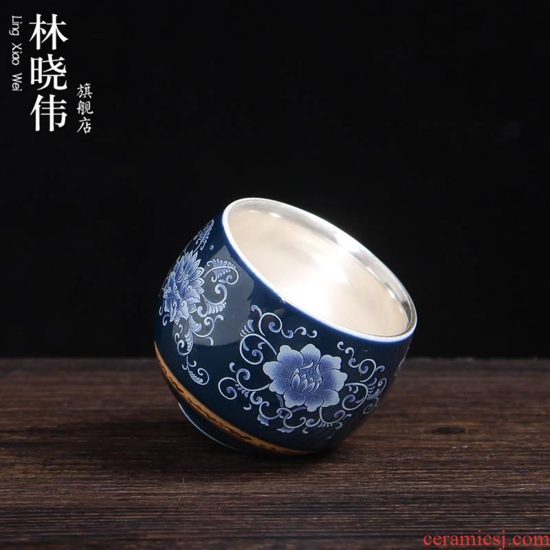Ji LanLiu master cup sample tea cup silver cup ceramic kung fu tea set manual 999 sterling silver cup single cup of tea