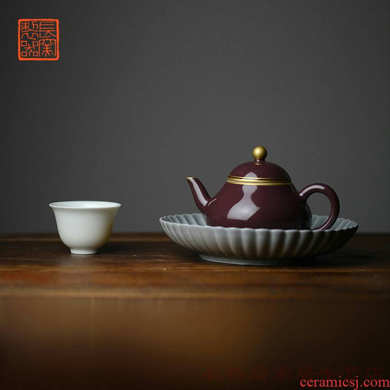 Offered home - cooked ju long up controller zijin glaze see the pear - shaped pot of jingdezhen pure manual archaize ceramic tea pot