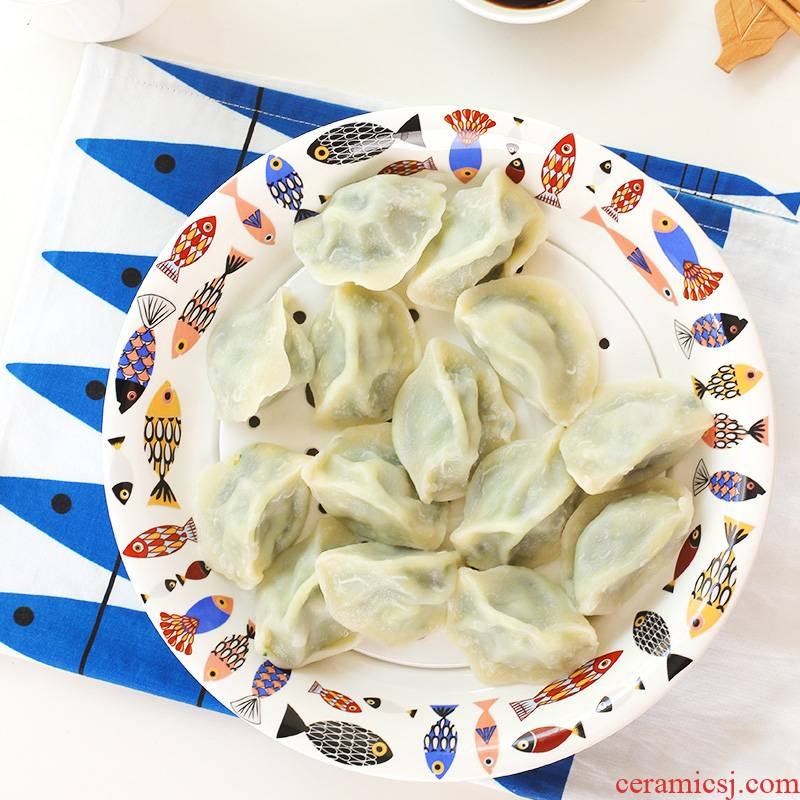 Ceramic tableware utsuwa double drop round home large dumpling dinner plate deep water dish dish steamed fish dish plate