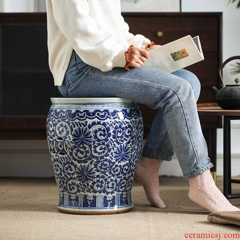 Blue and white porcelain who ceramic who is block between the new Chinese style drum who floor example soft outfit decoration furnishing articles