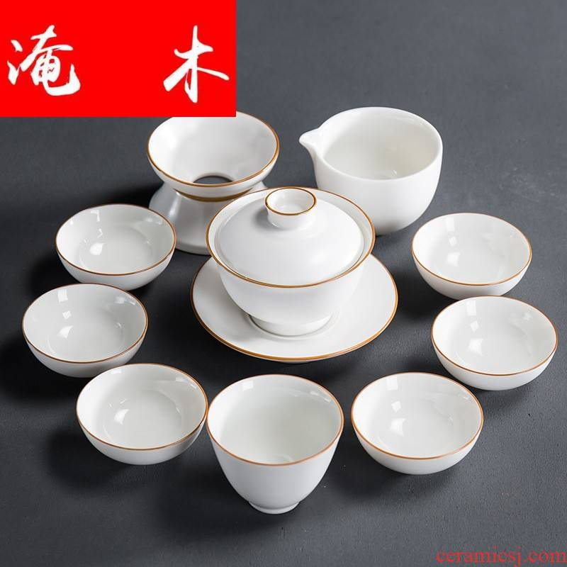 Submerged wood up with inferior smooth fat white tea set ceramic household kung fu tureen set of tea cups with gift box