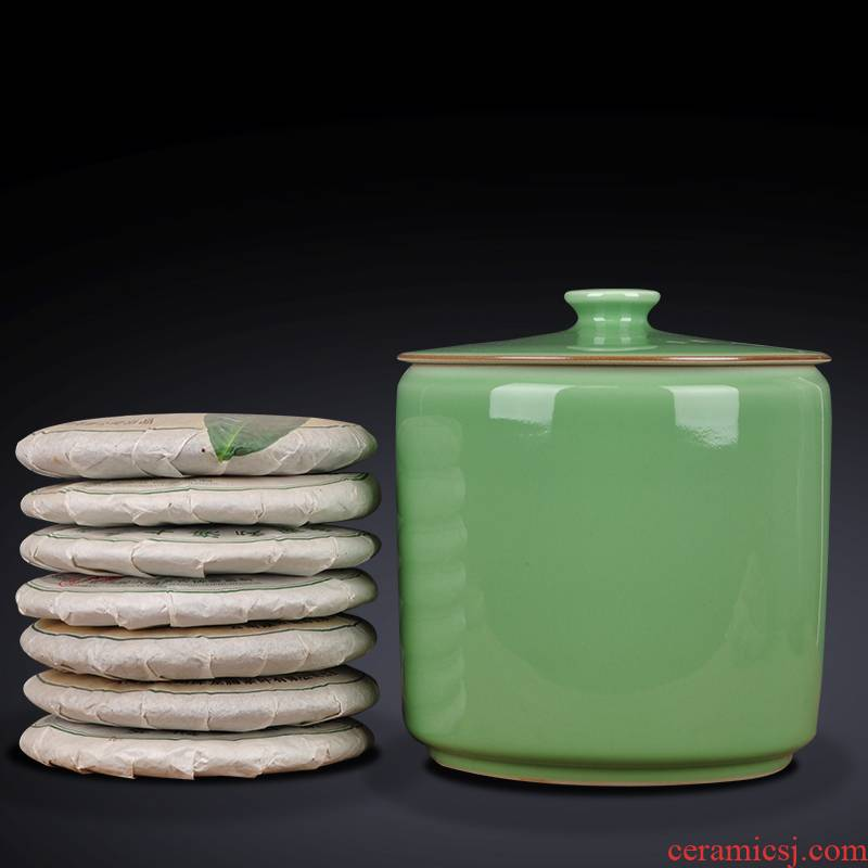Jingdezhen hand - made ceramic POTS caddy fixings large deposit tea tea tea sealed cylinder storage warehouse of bread seven as cans
