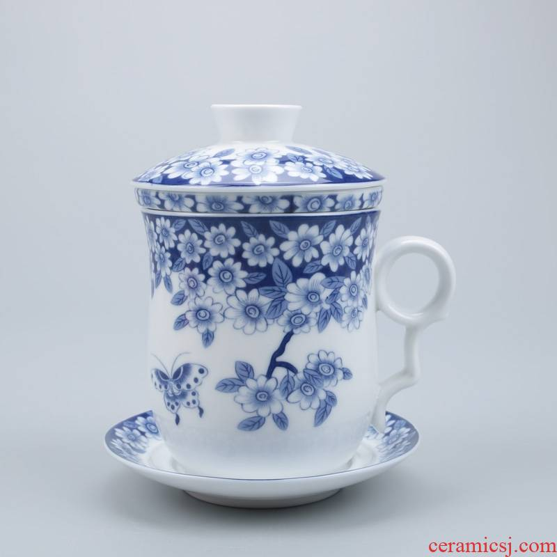 Qiao longed for blue and white porcelain ceramic cups with cover celadon water blue and white porcelain cup personal office and meeting gift mugs