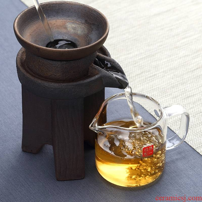 Qiao mu creative coarse pottery stone mill reasonable filter glass cup) suit ceramic filter ceramic filter and a cup of tea