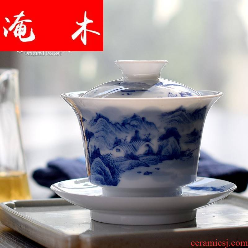 Submerged wood jingdezhen all hand tureen pure hand draw three cups to make tea bowl of blue and white porcelain landscape kung fu tea set