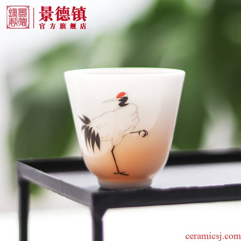 Jingdezhen flagship store ceramic cups manual master cup kung fu tea set household small sample tea cup four suits for