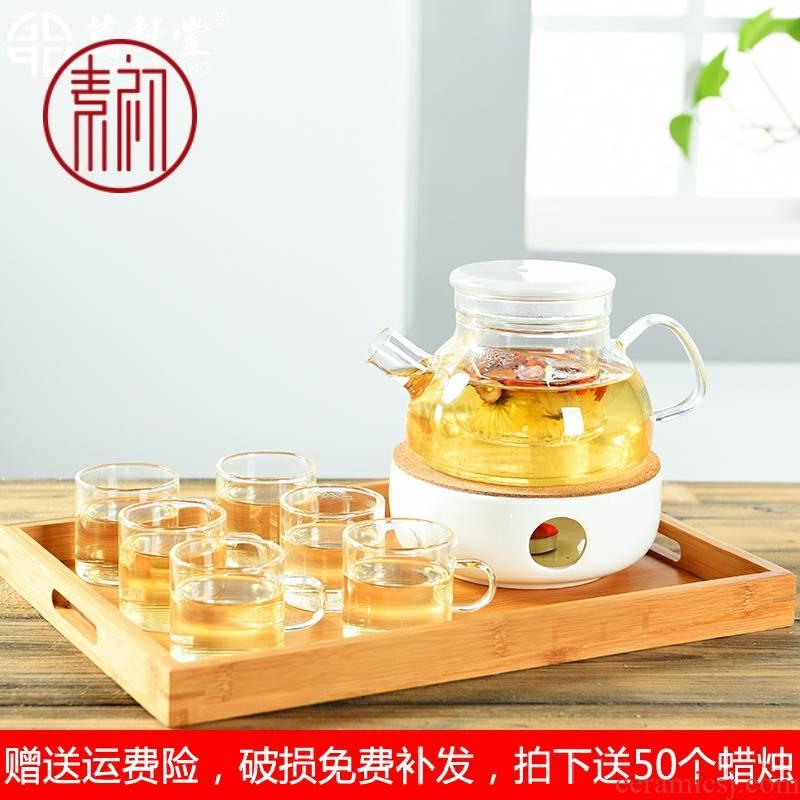 Japanese fruit flower pot, heat - resistant glass tea cup tea set heating ceramic base with candles