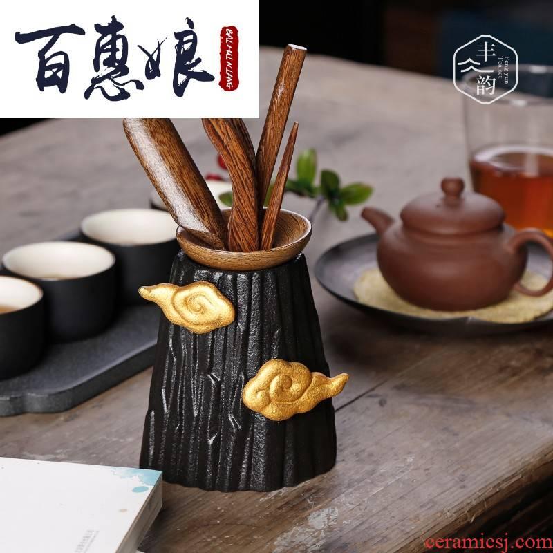 (niang tea six gentleman ceramic household wenge tools tea tea accessories 6 pieces of a complete set of zero with tea