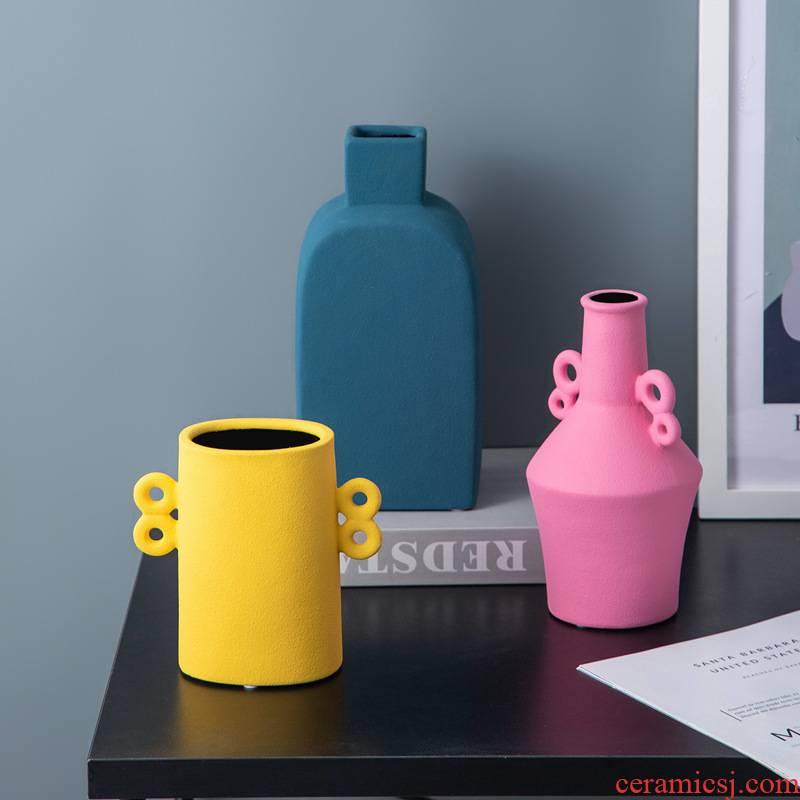 Northern wind ears morandi ceramic vase flower arranging soft decoration ideas, the sitting room porch TV ark, furnishing articles