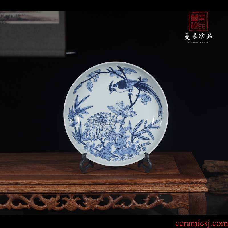 Hand - made of 30 cm of jingdezhen blue and white classic blue and white porcelain flower art classic study shelf furnishing articles