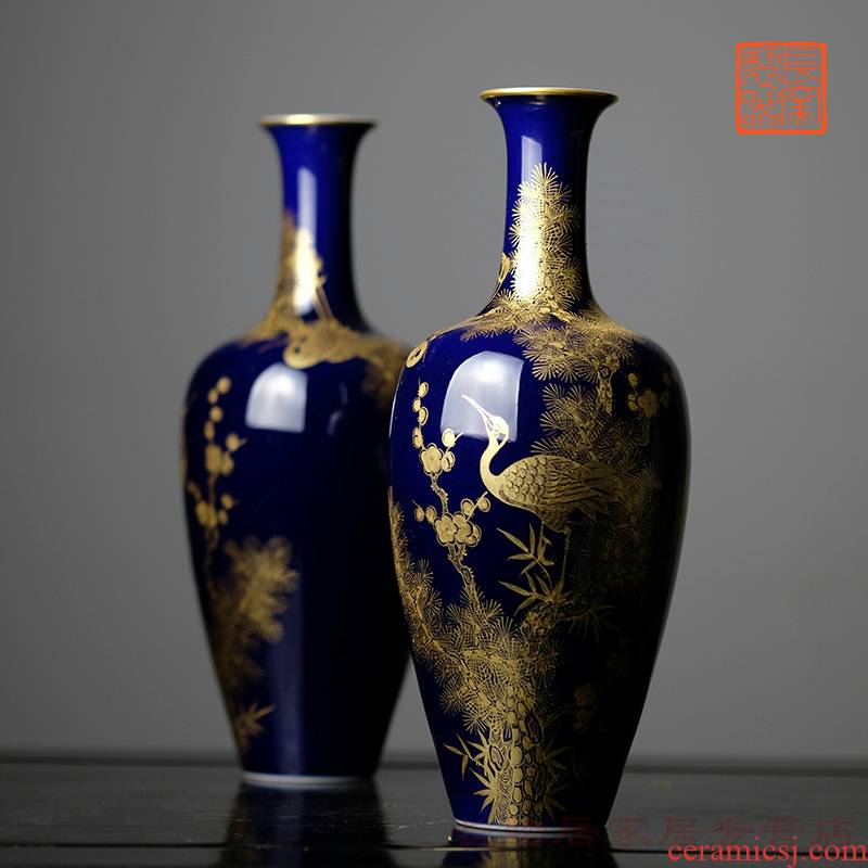 Offered home - cooked ju long up is the blue paint at the age of poetic double crane movement of bottles of jingdezhen checking antique vase