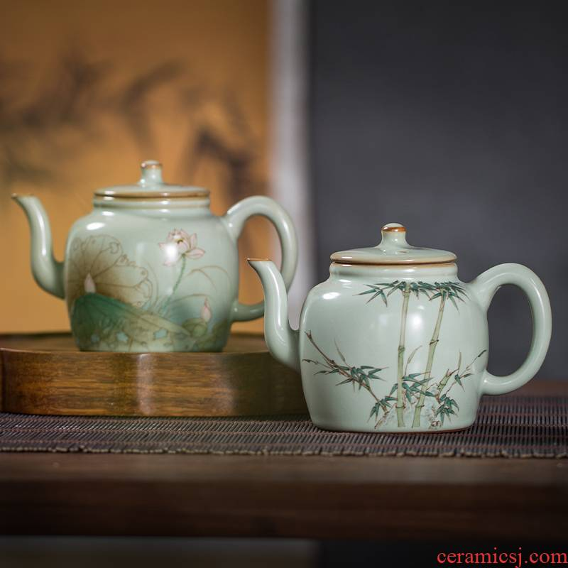 The Owl up jingdezhen to open the slice your up glaze tea hand - made glair kunfu tea dry teapot ceramics by hand