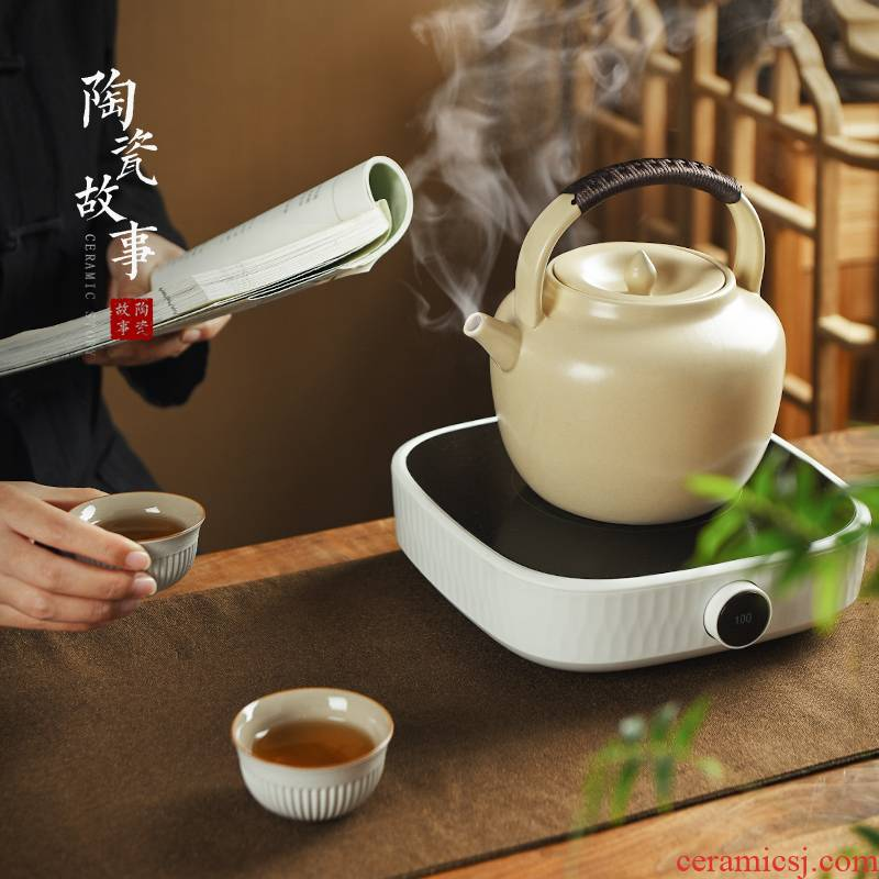 Members of the soda glaze ceramic cooking pot boil tea stove white clay electrical TaoLu boiled tea kettle home outfit