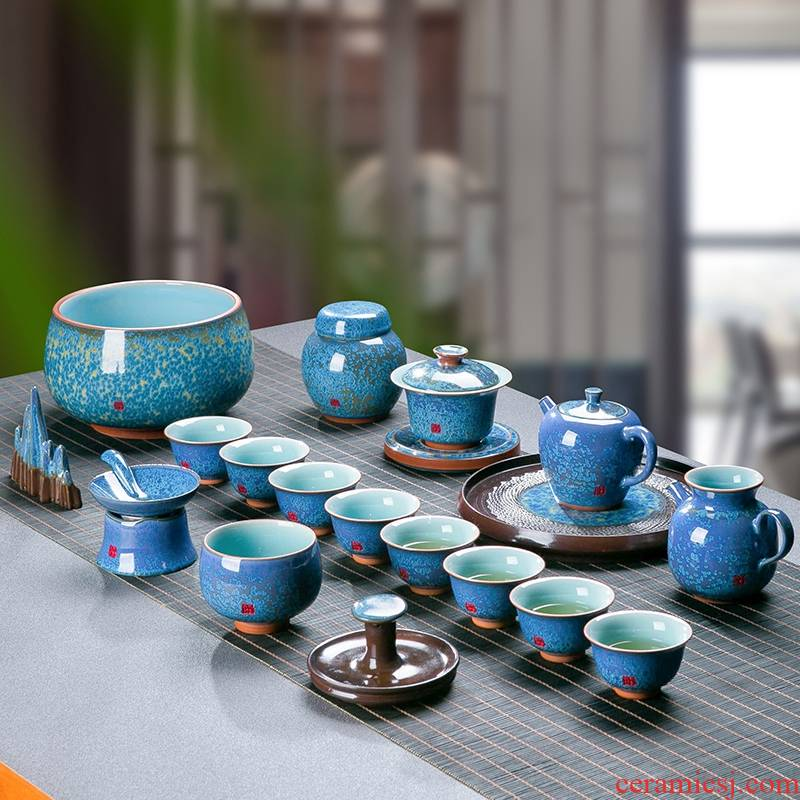 Kung fu tea red glaze, suit jingdezhen Chinese office of a complete set of sample tea cup tea pot lid bowl gift boxes