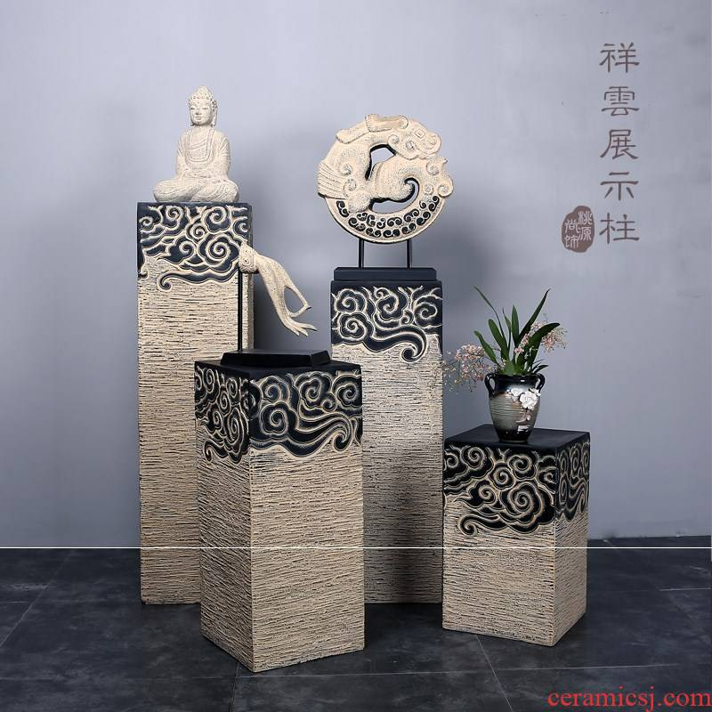 New Chinese style household anaglyph floor decorative display the base of the sitting room porch pillars of classical xiangyun archaize furnishing articles