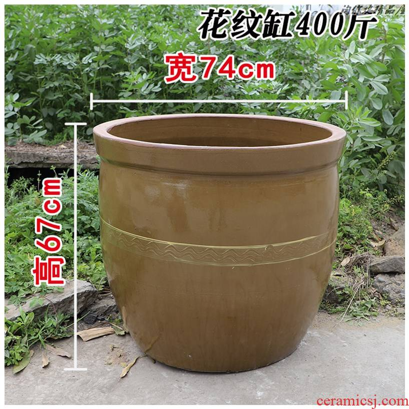 Old pickle vats pickles cylinder ceramic home Old bacon sauerkraut large cylinder with cover coarse pottery courtyard JiangGang