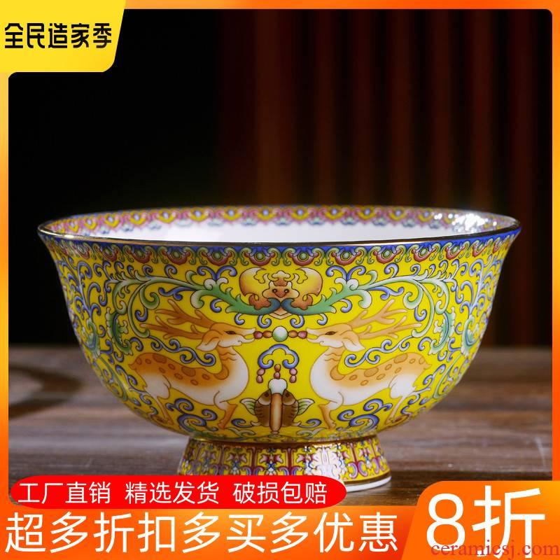 Jingdezhen ceramic bowl Chinese style household ipads porcelain rice bowls plutus antique tall bowl longevity noodles bowl bowl of custom
