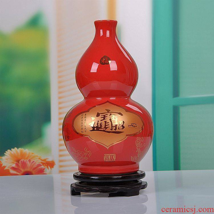 Jingdezhen ceramics Chinese red bottle gourd vases modern home furnishing articles new wedding gift
