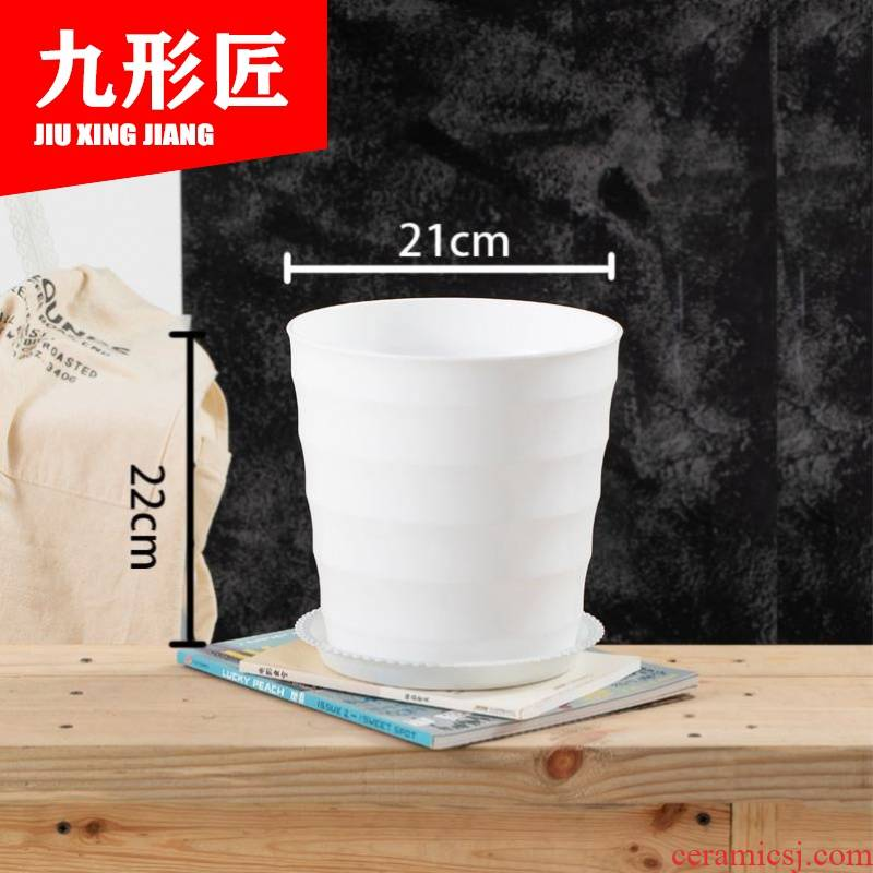 Ceramic flower pot straight cylindrical green plant flowers other Nordic ins special offer a clearance, fleshy potted tray