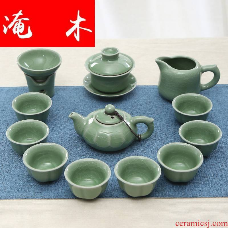 Flooded the elder brother of the wood up to open the slice your up ceramic kung fu tea sets the whole celadon household gift cups lid bowl