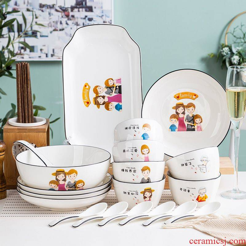 A 5 expressions using tableware three bowl of 3 people with one bowl with special porcelain bowl individual family