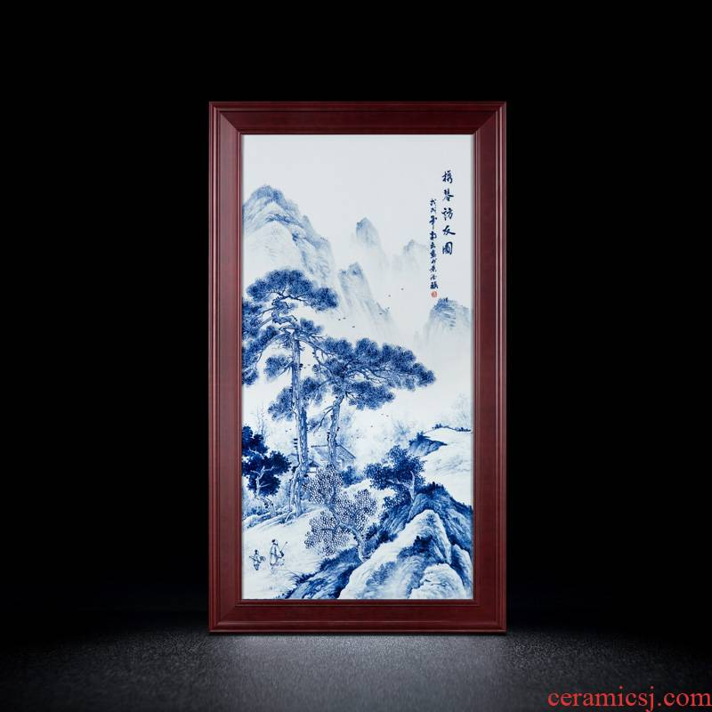 Blue and white hand - made ceramics jingdezhen porcelain plate painting of modern Chinese style solid wooden frame sitting room porch decorate wall hang a picture