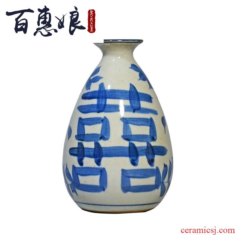 (niang jingdezhen hand - made floret bottle of archaize of ceramic glaze under decorated manual coarse pottery restoring ancient ways of blue and white porcelain