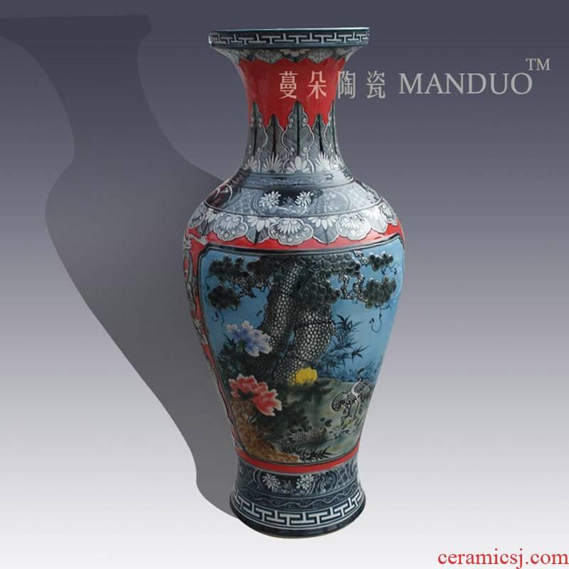 Jingdezhen high - grade colored enamel carving decorative vase of primitive simplicity of classical furnishings big vase landing