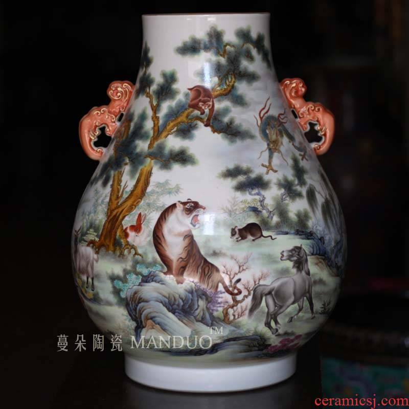 Qianlong official up enamel zodiac ears zun hand - made porcelain enamel contracted zodiac vase