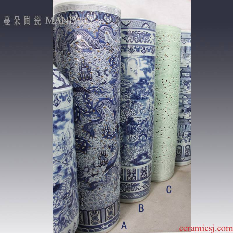 Jingdezhen hand carved dragon shuihu character art big quiver straight 1.8 meters tall vases